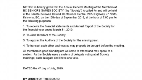 Notice of 2019 Annual General Meeting